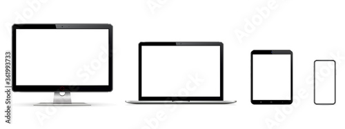 Set of blank screens with computer monitor, laptop, tablet, phone Fototapete