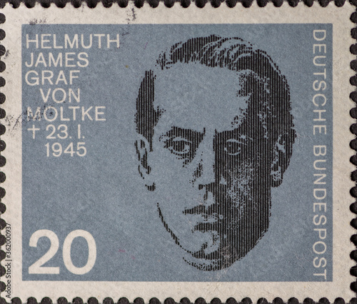 GERMANY - CIRCA 1964: a postage stamp showing a portrait of XXX who was a resistance fighter against Adolf Hitler Canvas Print
