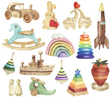 Watercolor Kids Toys Clipart. ...