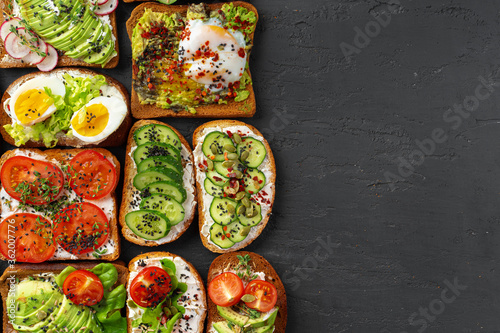 Menu background with variety of different vegan sandwiches