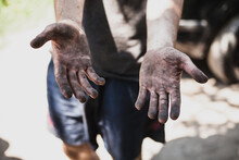 Dirty Hands Of Worker Miner Ar...