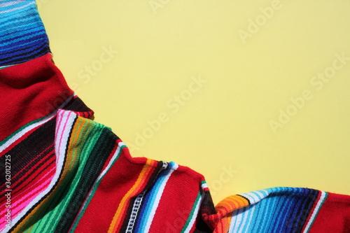 poncho Mexican cinco de mayo rug serape fiesta traditional Mexico background wit Fototapet
