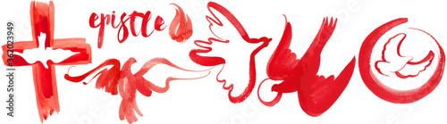Fotografie, Tablou .Set of abstract hand-drawn birds: dove as a symbol of the Holy Spirit, Pentecos