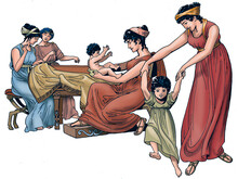 Ancient Greece - Group Of Spartan Women With Their Children