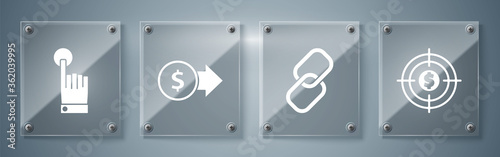 Set Target with dollar, Chain link, Coin money with dollar symbol and Hand touch and tap gesture Tapéta, Fotótapéta