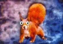 Orange Squirrel Cartoon Abstra...