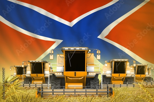 Valokuvatapetti many yellow farming combine harvesters on grain field with Novorossia flag backg