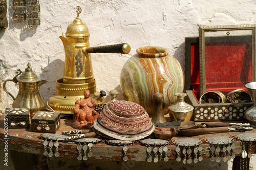 Fototapeta Old things on display for sale in Milas, Anatolia, Turkey