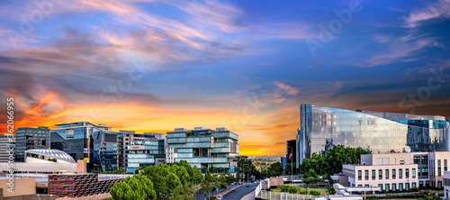 Fotografie, Obraz Panorama of Sandton City at sunset with colourful clouds