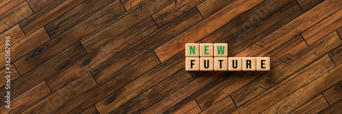 Fotomural cubes with message NEW FUTURE on wooden background