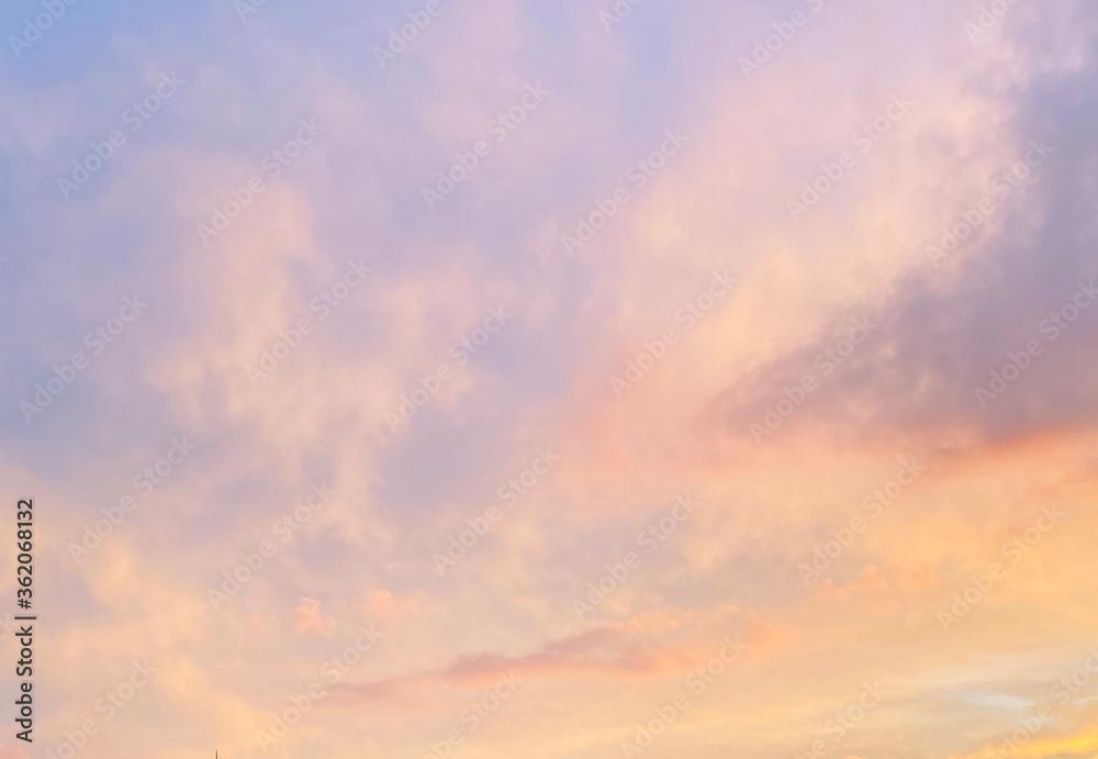Fototapeta fréjus ciel nuage coché de soleil soir var nature rosé bleu violet mauve pastel