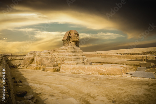 The great Sphinx of Giza in a beautiful moody sunset, Cairo, Egypt Fotobehang