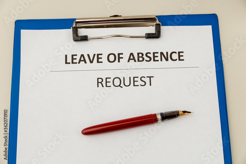 Photo Personal leave ob absence statement form at the desk