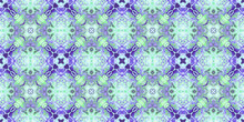 Purple Green Medallion Pattern Seamless Tile