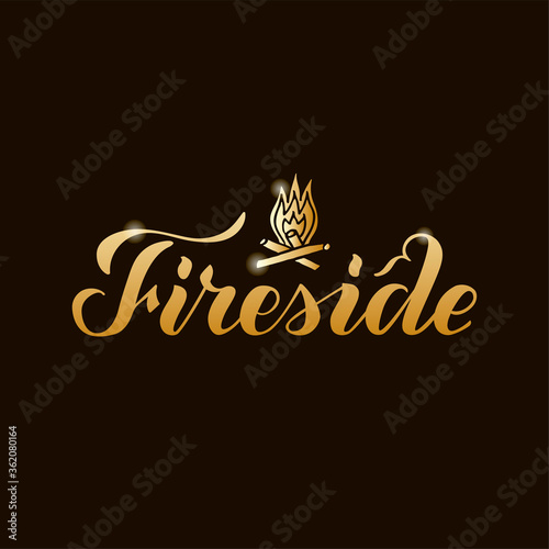 Vector illustration of fireside brush lettering for banner, leaflet, poster, logo, advertisement design Wallpaper Mural