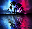 canvas print picture - Abstract modern futuristic dark landscape with tropical palm trees, neon lights, rays. Reflection in the water, night view, abstract tropical background. 3d illustration