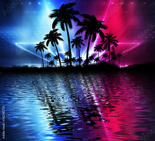 Abstract modern futuristic dark landscape with tropical palm trees, neon lights, rays. Reflection in the water, night view, abstract tropical background. 3d illustration