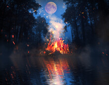 Dark Forest, Bonfire Near The ...