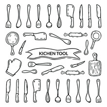 Kitchen Tools With Hand Drawn ...