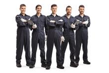 Team Of Five Auto Mechanic Wor...