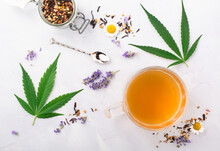Cannabis Infused Tea Made With Marijuana, Loose Leaf Tea, Lavender And Chamomile. A Relaxing CBD Infused Beverage To Wake Up. Can Be Used For Medical Purposes For Sleep And Anxiety.