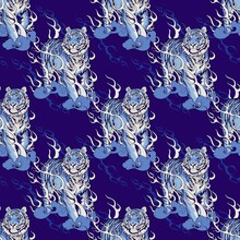 Oriental Chinese Or Japanese Traditional Art  Tiger Walking On Fire Design For Porcelain Seamless  Pattern Blue Tone With Indigo Blue Background