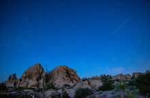 Starry Night Sky In The Joshua Tree National Park At Twilight