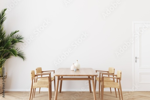 Obraz Dining room wall mock up with Areca palm, rattan dining set, wooden table on wooden floor. 3d illustration. - fototapety do salonu