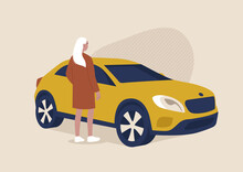 Young Female Character Standing Next To A SUV, Transportation, Car Sharing