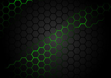 Black Hexagonal Pattern On Gre...