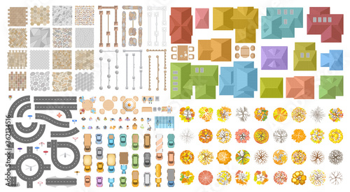 Obraz Vector set. Autumn city landscape. Top view. Sidewalk, fence, houses, road, cars, people, trees. View from above.  - fototapety do salonu