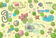 A Vector Illustration Of Amusement Park Map. (Top View) Attractions, Paths, Lake, Circus, Plants, Tents. (View From Above)