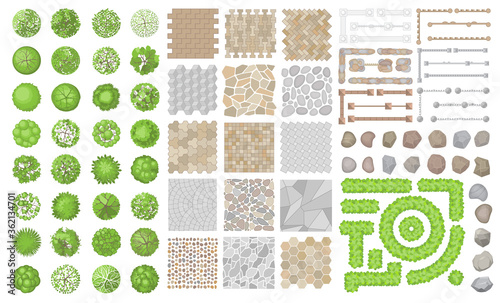 Set of park elements. (Top view) Collection for landscape design, plan, maps. (View from above) Fences, pavements, stones, trees.