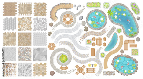 Fotografie, Obraz Set of vector street pavements and elements of the park