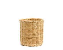 Wicker Basket Pot Isolate On White Background.