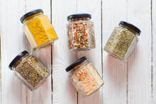 Jars With Various Spices And H...