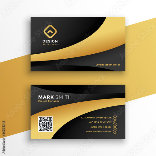 Obraz black and gold modern business card template design - fototapety do salonu