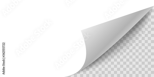 Fotografia Curled corner paper page. Curl flip peel sheet of paper.
