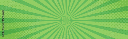 Papel de parede Panoramic green comic zoom with lines - Vector