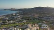 LOS CABOS MEXICO-2020: Aerial View During Sunrise Of A Coastal Resort Town With Sandy White Beaches And A Park Golf Course