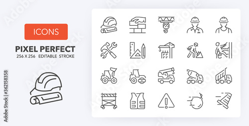 Photo construction line icons 256 x 256