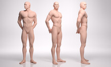 3D Render : Silicone Texture Mannequin Of  Male Character Standing On The Floor