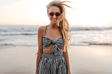 Cool Active Woman In Striped C...