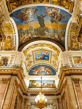 The Interior Of St. Isaac Cathedral In St. Petersburg