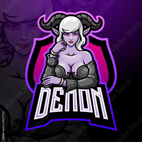 Photo Demon girl esport logo mascot design