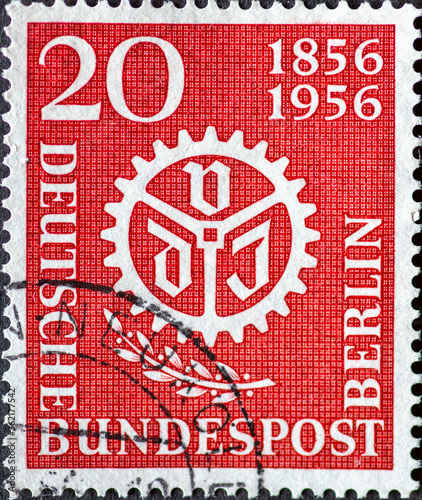 GERMANY, Berlin - CIRCA 1956: a postage stamp from Germany, Berlin showing VDI logo and a laurel branch Canvas Print