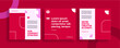 Set of editable templates for Instagram post, Facebook square, corporate, advertisement, and business, fresh design with simple red color. (3/3)
