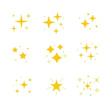 Icon Bright Twinkle. Sparkles Icon Set. Yellow Gold Star Element, Light