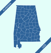 County Map Of Alabama USA