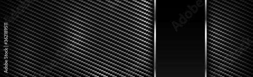 Obraz Panoramic texture of black and gray carbon fiber - fototapety do salonu